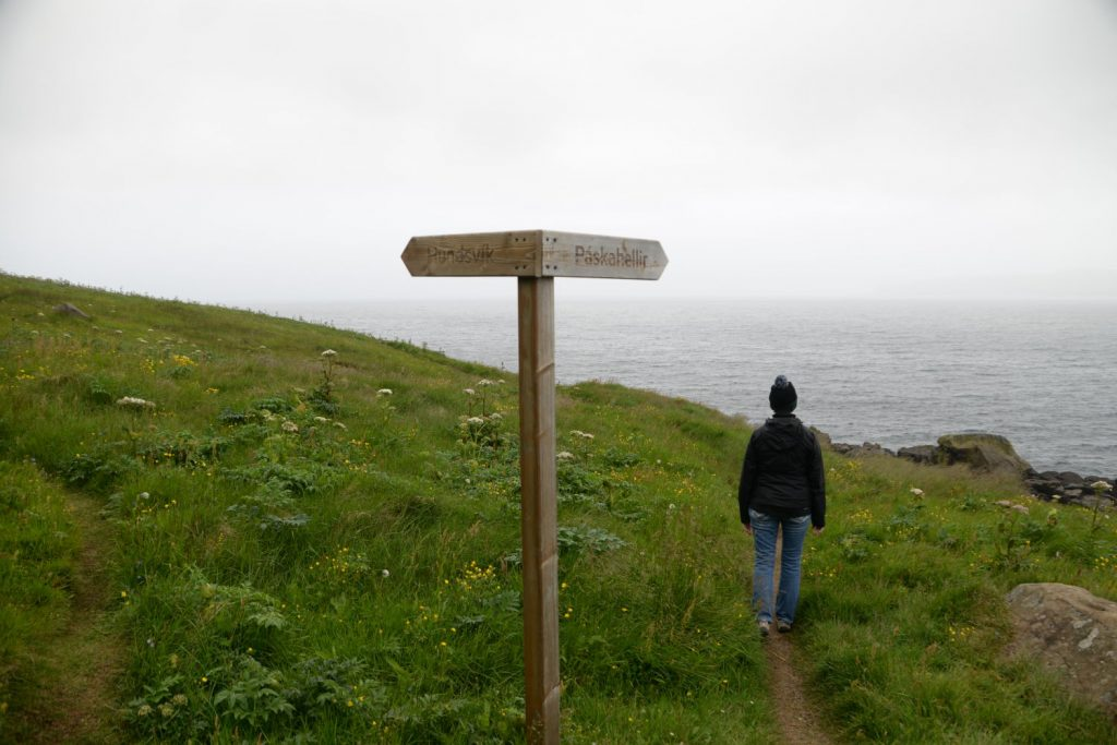 This sign post was in the middle of a peat bog in Neskaupstadur, Iceland. Which way to go?